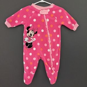 Disney Minnie Mouse pink fleece sleeper/footie